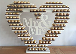 Mr & Mrs Ferrero Rocher Heart Shaped Stand